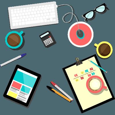 Illustration recrutement, tasse de café, paire de lunette et café